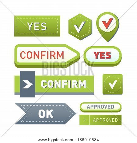 Colorful website ok buttons design vector illustration glossy graphic label internet confirm template banner. Rounded blank menu reflection business navigation download interface.