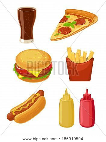 Set fast food icon. Glass of cola, hamburger, pizza, hotdog, fries potato in red paper box, bottles of ketchup and mustard. Vector isolated flat illustration for poster, menus, brochure, web.