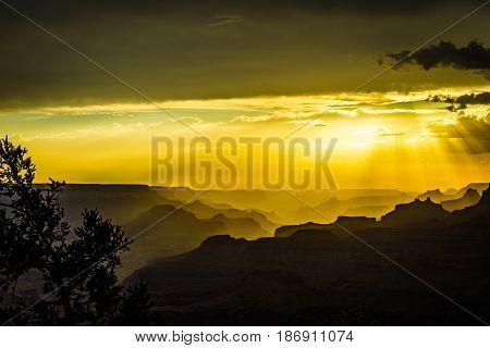 Grand Canyon National Park Sunset Desert View Watchtower Arizona USA
