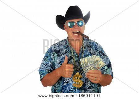 Texas Millionaire with Cash in Hand. Isolated on white. Room for text. Mr. Money Man. Man with Cash. Cash is King. Money to burn. Money to loan.