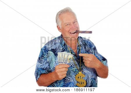 Money Man. Isolated on white. Room for text. Money to loan. Cash advance. Cash is king. Mr. Money Man.
