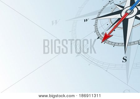 Compass southwest. Compass with wind rose, the arrow points to the southwest. Compass on a blue background. Compass illustrations can be used as background