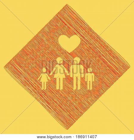 Family symbol with heart. Husband and wife are kept children's hands. Love. Vector. Red scribble icon obtained as a result of subtraction rhomb and path. Royal yellow background.