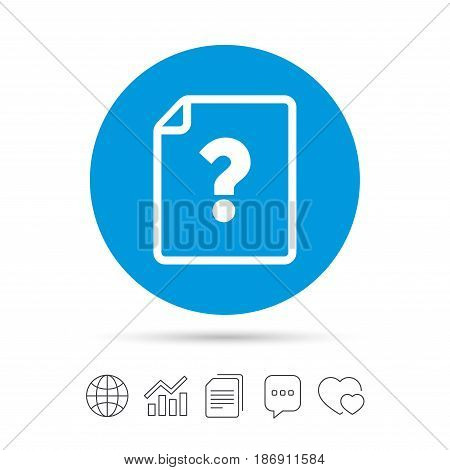 File document help icon. Question mark symbol. Copy files, chat speech bubble and chart web icons. Vector