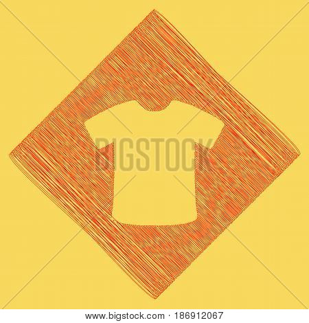 T-shirt sign. Vector. Red scribble icon obtained as a result of subtraction rhomb and path. Royal yellow background.