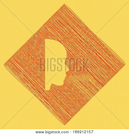 People speaking or singing sign. Vector. Red scribble icon obtained as a result of subtraction rhomb and path. Royal yellow background.