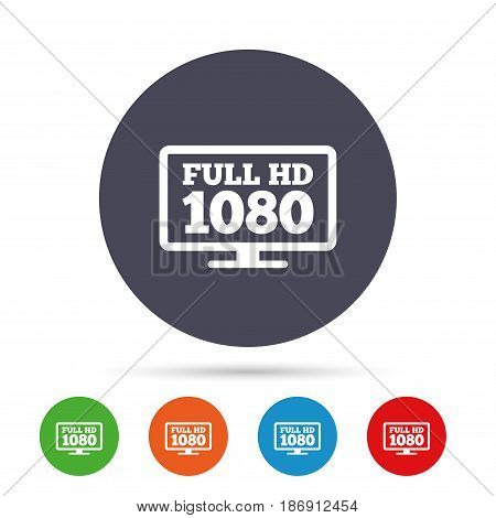 Full hd widescreen tv sign icon. 1080p symbol. Round colourful buttons with flat icons. Vector