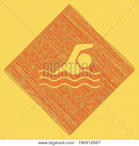 Swimming water sport sign. Vector. Red scribble icon obtained as a result of subtraction rhomb and path. Royal yellow background.