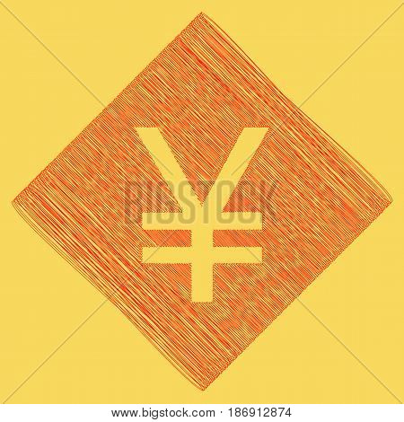 Yen sign. Vector. Red scribble icon obtained as a result of subtraction rhomb and path. Royal yellow background.