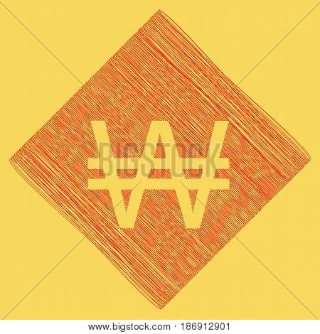 Won sign. Vector. Red scribble icon obtained as a result of subtraction rhomb and path. Royal yellow background.