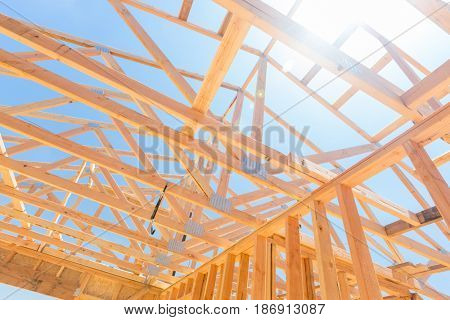 Wood Home Framing Abstract At Construction Site.