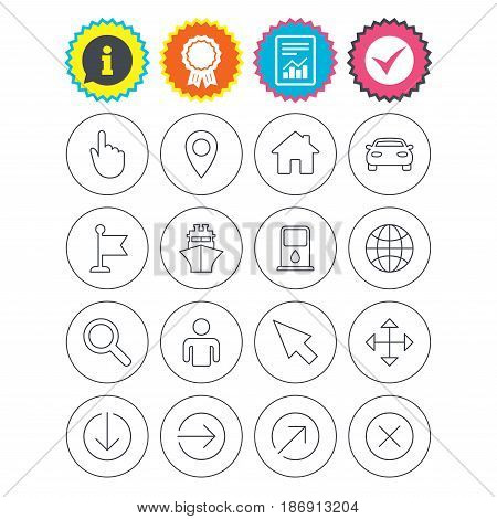 Report, information and award signs. GPS navigation icons. Car and Ship transport. You are here, map pointer symbols. Search gas or petrol stations, hotels. Check tick symbol. Flat buttons. Vector