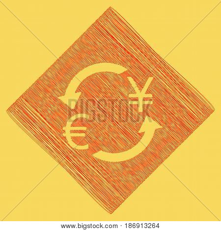 Currency exchange sign. Euro and Japan Yen. Vector. Red scribble icon obtained as a result of subtraction rhomb and path. Royal yellow background.