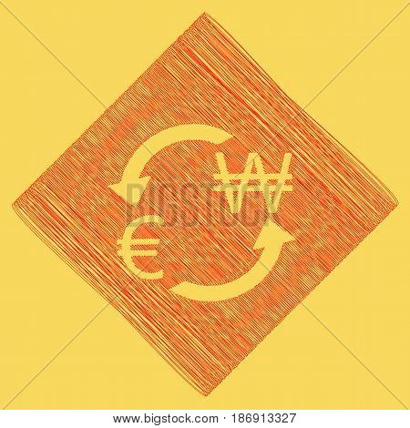 Currency exchange sign. Euro and South Korea Won. Vector. Red scribble icon obtained as a result of subtraction rhomb and path. Royal yellow background.