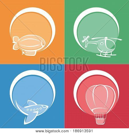 Set of colored aviation icons. Aviation concept. Painted icons in a flat style. Aviation vector stock photography.