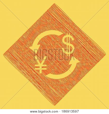 Currency exchange sign. Japan Yen and US Dollar. Vector. Red scribble icon obtained as a result of subtraction rhomb and path. Royal yellow background.