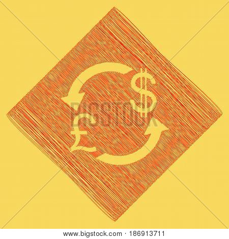 Currency exchange sign. UK: Pound and US Dollar. Vector. Red scribble icon obtained as a result of subtraction rhomb and path. Royal yellow background.