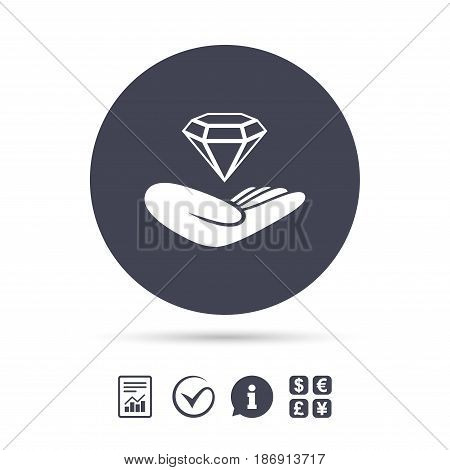 Jewelry insurance sign. Hand holds diamond symbol. Brilliant insurance. Report document, information and check tick icons. Currency exchange. Vector