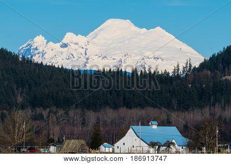 Barn in Skagit Valley, WA.  Mount Baker in background