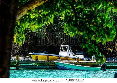 Skiff languishing at Dinghy dock, Jost Van Dyke, BVI