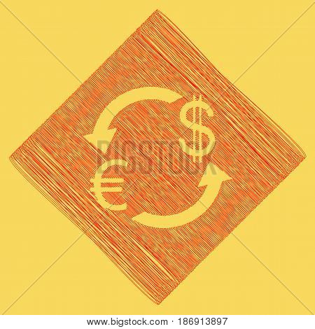 Currency exchange sign. Euro and US Dollar. Vector. Red scribble icon obtained as a result of subtraction rhomb and path. Royal yellow background.