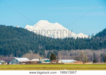 Mount Baker viewed from across Skagit Valley, Washington State
