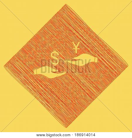 Currency exchange from hand to hand. Dollar and Yuan. Vector. Red scribble icon obtained as a result of subtraction rhomb and path. Royal yellow background.