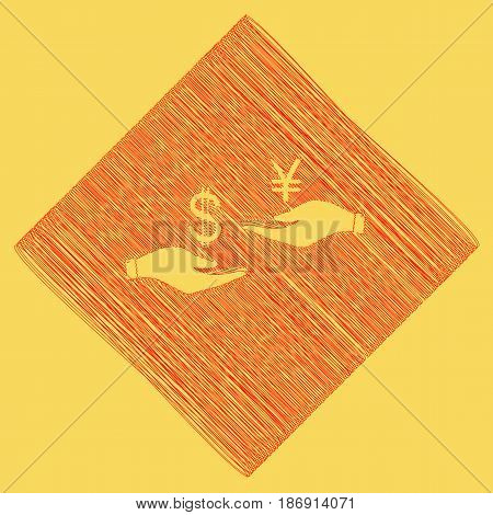 Currency exchange from hand to hand. Dollar and Yen. Vector. Red scribble icon obtained as a result of subtraction rhomb and path. Royal yellow background.