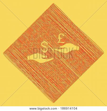 Currency exchange from hand to hand. Dollar and Pound. Vector. Red scribble icon obtained as a result of subtraction rhomb and path. Royal yellow background.