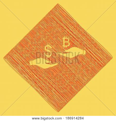 Currency exchange from hand to hand. Dollar and Bitcoin. Vector. Red scribble icon obtained as a result of subtraction rhomb and path. Royal yellow background.