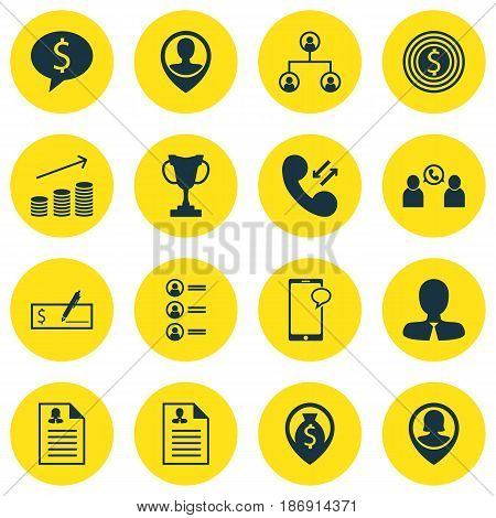 Set Of 16 Management Icons. Includes Business Goal, Messaging, Manager And Other Symbols. Beautiful Design Elements.