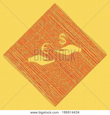 Currency exchange from hand to hand. Euro and Dollar. Vector. Red scribble icon obtained as a result of subtraction rhomb and path. Royal yellow background.