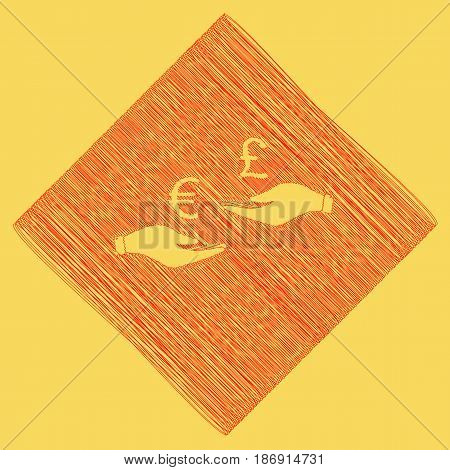 Currency exchange from hand to hand. Euro and Pound. Vector. Red scribble icon obtained as a result of subtraction rhomb and path. Royal yellow background.