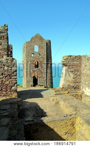 Derelict Engine House Formerly Part Of A Cornish Tin Mine In England
