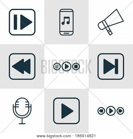 Set Of 9 Music Icons. Includes Start Song, Bullhorn, Following Music And Other Symbols. Beautiful Design Elements.