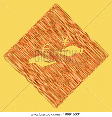 Currency exchange from hand to hand. Euro and Yen. Vector. Red scribble icon obtained as a result of subtraction rhomb and path. Royal yellow background.