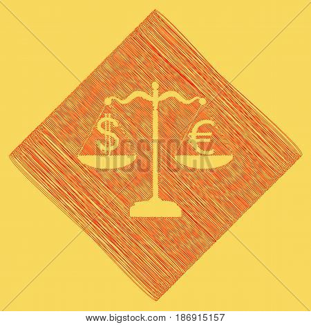 Justice scales with currency exchange sign. Vector. Red scribble icon obtained as a result of subtraction rhomb and path. Royal yellow background.