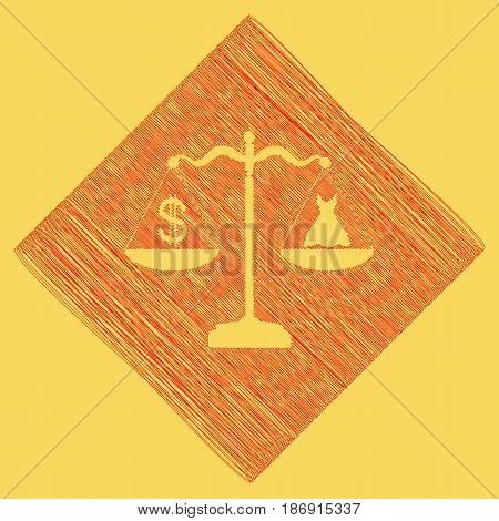 Dress and dollar symbol on scales. Vector. Red scribble icon obtained as a result of subtraction rhomb and path. Royal yellow background.