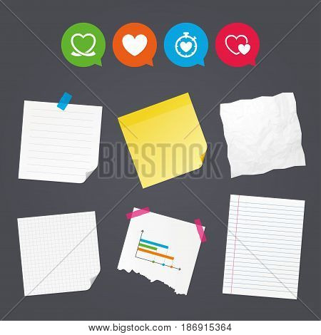 Business paper banners with notes. Heart ribbon icon. Timer stopwatch symbol. Love and Heartbeat palpitation signs. Sticky colorful tape. Speech bubbles with icons. Vector