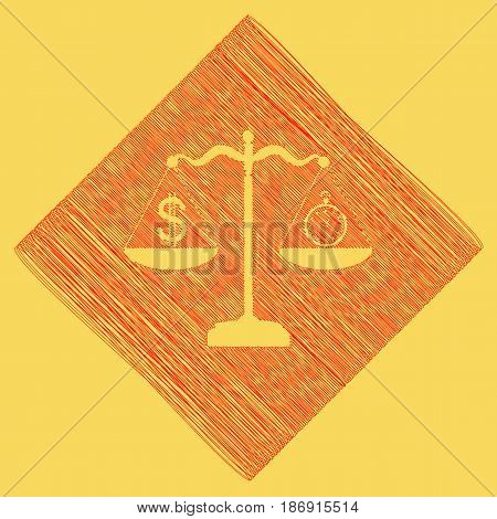 Stopwatch and dollar symbol on scales. Vector. Red scribble icon obtained as a result of subtraction rhomb and path. Royal yellow background.