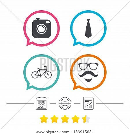 Hipster photo camera. Mustache with beard icon. Glasses and tie symbols. Bicycle sign. Calendar, internet globe and report linear icons. Star vote ranking. Vector