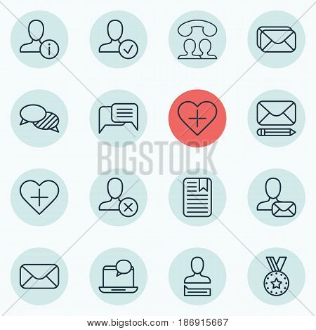 Set Of 16 Social Icons. Includes Speaking People, Confirm Profile, Edit Mail And Other Symbols. Beautiful Design Elements.