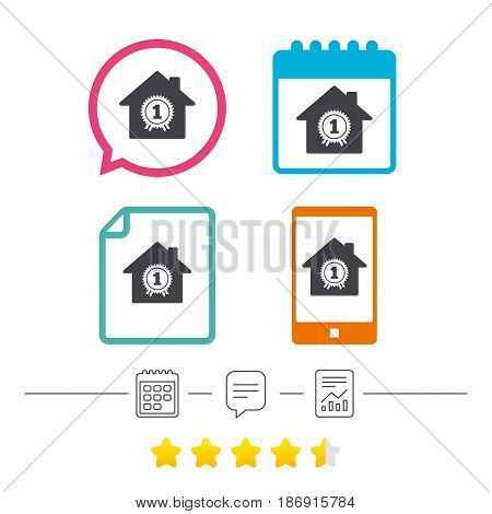 Best home. First place award icon. Prize for winner symbol. Calendar, chat speech bubble and report linear icons. Star vote ranking. Vector