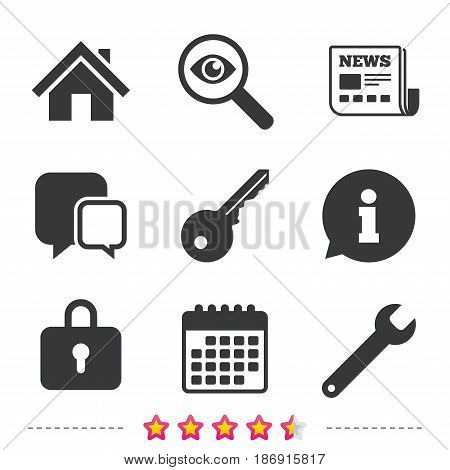 Home key icon. Wrench service tool symbol. Locker sign. Main page web navigation. Newspaper, information and calendar icons. Investigate magnifier, chat symbol. Vector