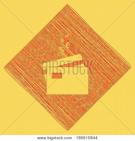 Credit cards sign with currency symbols. Vector. Red scribble icon obtained as a result of subtraction rhomb and path. Royal yellow background.