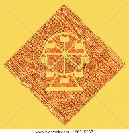 Ferris wheel sign. Vector. Red scribble icon obtained as a result of subtraction rhomb and path. Royal yellow background.