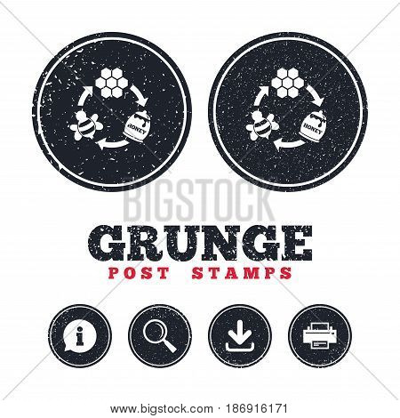 Grunge post stamps. Producing honey and beeswax sign icon. Honeycomb cells symbol. Honey in pot. Sweet natural food cycle in nature. Information, download and printer signs. Aged texture web buttons