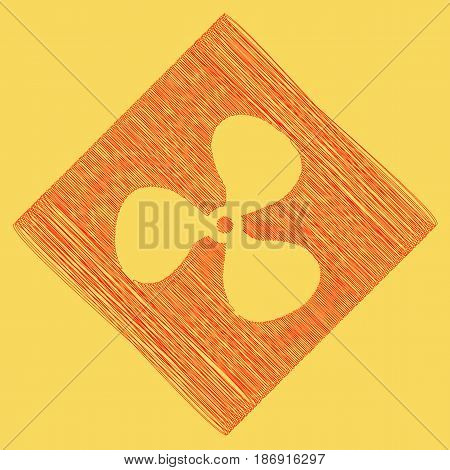 Fan sign. Vector. Red scribble icon obtained as a result of subtraction rhomb and path. Royal yellow background.