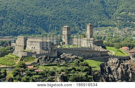 Castelgrande is a medieval castle dating from 13th century on a rocky hilltop - Bellinzona Switzerland