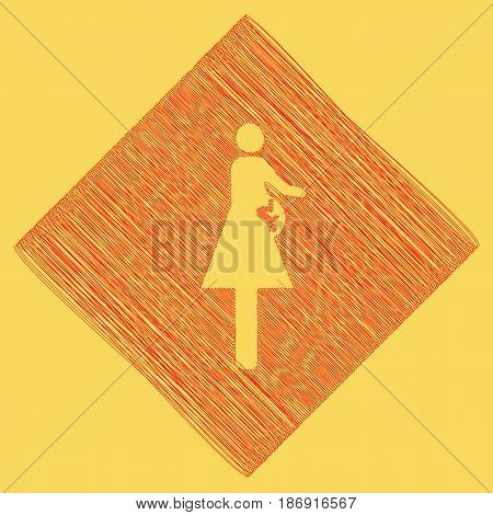 Women and baby sign. Vector. Red scribble icon obtained as a result of subtraction rhomb and path. Royal yellow background.